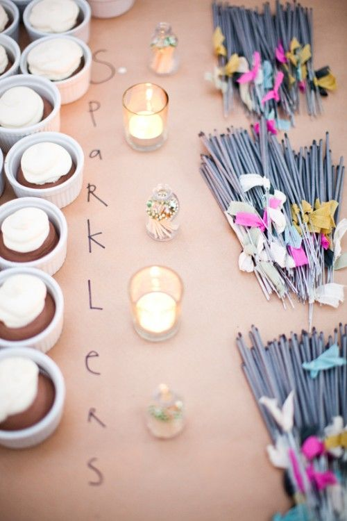 Kraft paper on the table tops + sparklers for the sendoff