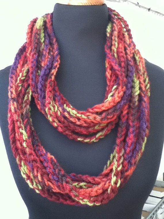 Free US Shipping: Multi colored Infinity Crocheted Rope Chain Necklace/Scarf with a brown band
