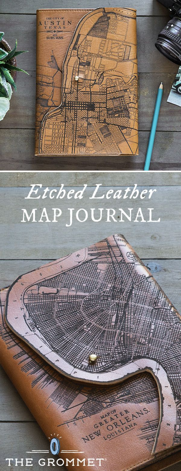 Leather Map Journal by Tactile Craftworks 556