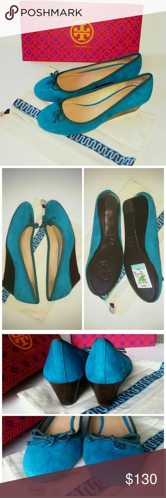 """Tory Burch Suede Turquoise Wedge Shoes Beautiful """"Chelsea"""" suede wedge platform pumps by Tory Burch  Soft suede upper. Leather lining, padded insole. 1 3/4"""" (45mm) wedge.  8.5M/ 38-38.5 Bow accent & T logo charm at toe. Electric blue (dark turquoise).  New with tags, dustbag. Box is included, but it's from another pair. Please note tiny glue marks on sides. Tory Burch Shoes Wedges"""