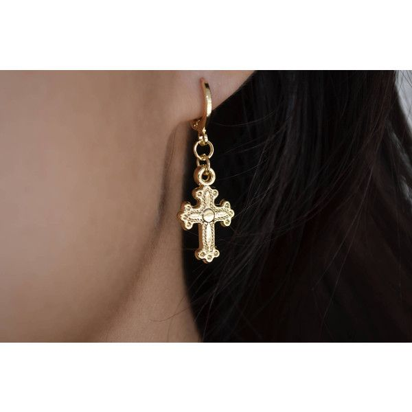 Small Cross Earrings Gold Hoop Dangle 19 Liked On Polyvore Featuring Jewelry