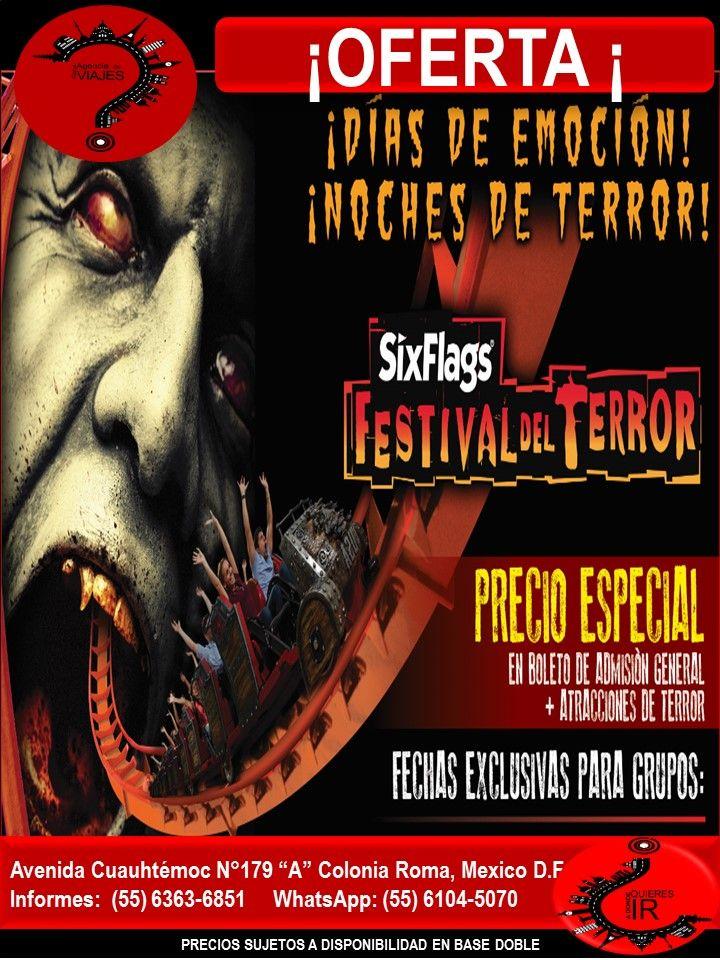 SIX FALGS MEXICO FESTIVAL DEL TERROR - NO PUEDES DEJARLO PASAR  Llámanos al 6363-6851 escríbenos al correo: buzon@romaagenciadeviajes.com o Visitamos en: Avenida Cuauhtemoc 179 A Colonia Roma CDMX de Lunes a Viernes de 10 am a 19 hrs y sábados y domingos de 11 hrs a 15 hrs (Cerramos puentes y días festivos) También puedes visitar la pagina web: www.romaagenciadeviajes.com donde pulsando el botón de BOLETOS podrás reservar en linea las 24 hrs del día Boletos Aéreos, Hoteles y Paquetes