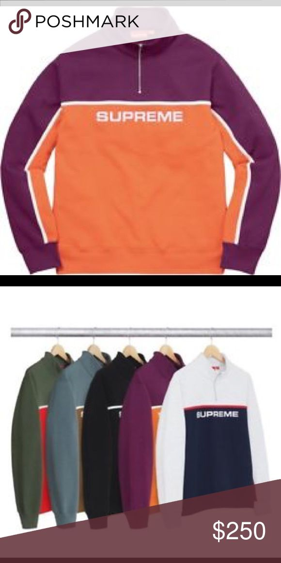 Supreme two tone half zip sweater. NWT. Supreme two tone sweater in orange that is NEW with original packaging. Comes with supreme bag and sticker! Supreme Sweaters Zip Up