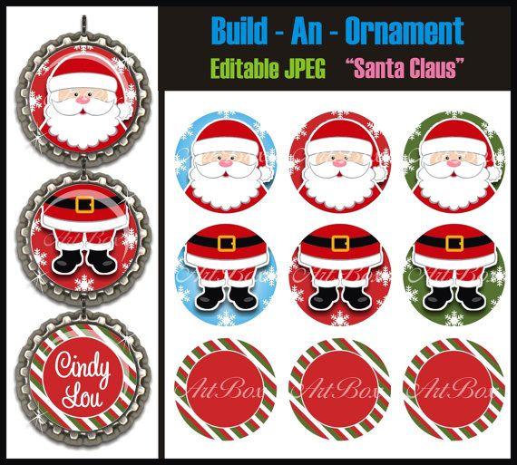 Editable Build An Ornament Santa Claus Bottle by ArtBoxGraphics, $2.50