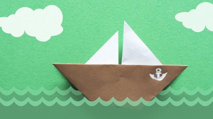 Оригами для детей. Простая лодка с парусом