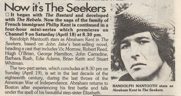 Original commentary from TV guide (TV Radio Extra, South Australia), 11 April 1981. The Seekers showed on 18 & 19 April, starring Randolph Mantooth. This is from my own collection.