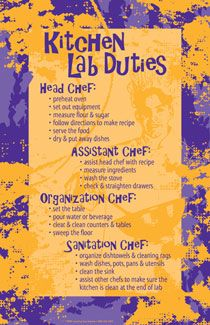 Kitchen Lab Duties Posters--- great idea for middle school food labs!