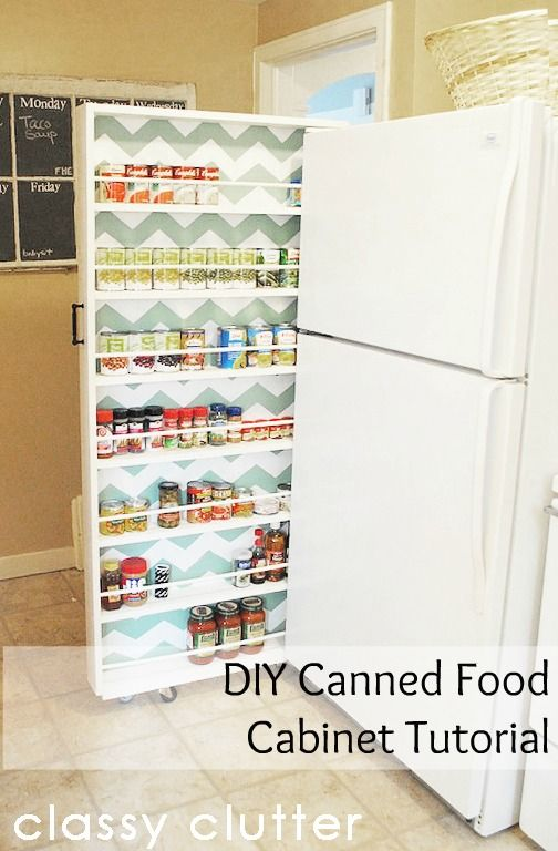 DIY Canned food storage tutorial from Classy Clutter: Small Kitchens, Extra Storage, Food Storage, Small Spaces, Storage Ideas, Diy,  Icebox, Kitchens Storage, Classy Clutter