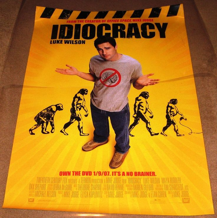 Idiocracy Movie Poster 27x40 Used Greg Pitts, Daniel Smith, Thomas Haden Church, Maya Rudolph, Luke Wilson, Sara Rue, Lynnanne Zager, Steve Powers, Michael McCafferty, Ava Santana, Lidia Porto