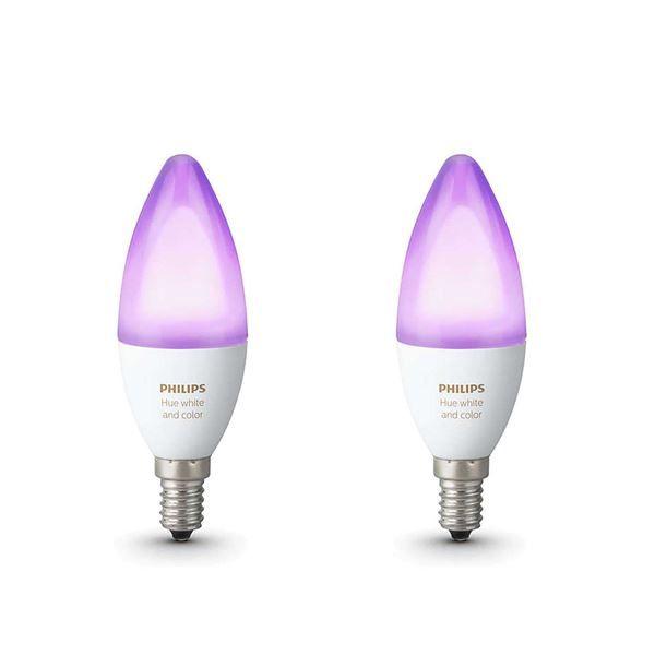 Set becuri LED Philips Hue 6W E14 B39 White and Color Ambiance http://www.etbm.ro/tag/149/becuri-led-e14