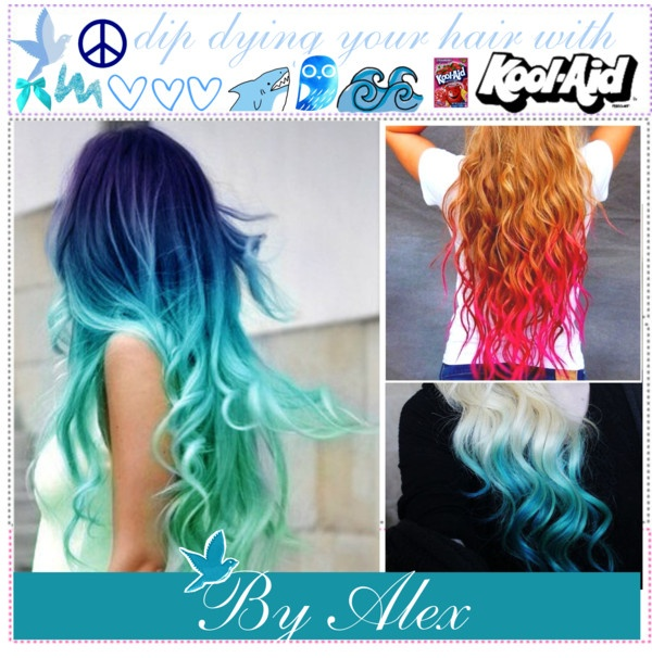 """Dip dying your hair with kool aid{ By Alex}"" by indie-and-the-tippettes ❤ liked on Polyvore"