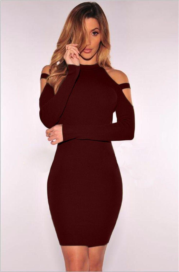 Scoop Cold Shoulder Long Sleeves Solid Short Club Dress