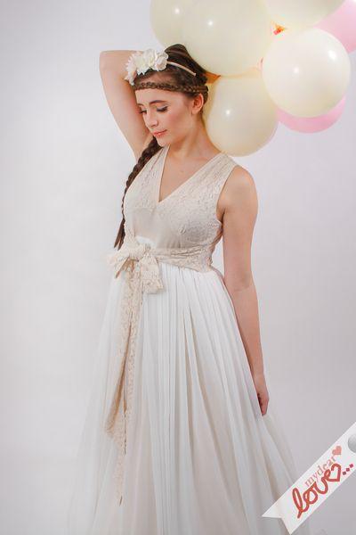 """Brautkleid """"Ophelia""""- Creme, Chiffon, Spitze von mydearlove® - shop auf DaWanda.com"""