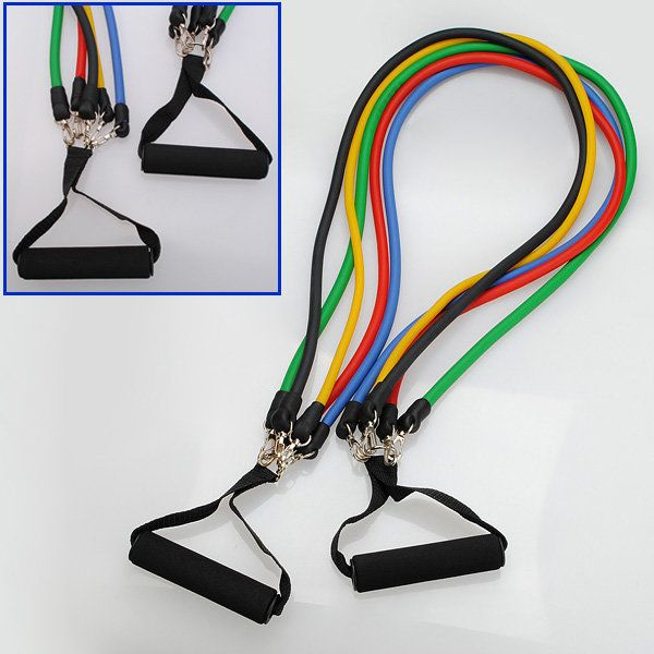 11 PC Latex Resistance Bands Exercise Set for Yoga ABS P90X Workout Fitness - US$10.99