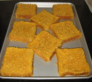 Cap'n Crunch encrusted french toast - I should try this.  We have the cereal but it hurts my mouth to eat it in whole pieces...crushed might be the way to go