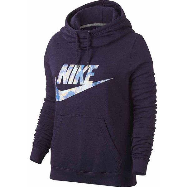 Nike Long Sleeve Cotton Blend Hoodie ($55) ❤ liked on Polyvore featuring tops, hoodies, nike top, hooded pullover, purple hooded sweatshirt, purple hoodie and hooded sweatshirt