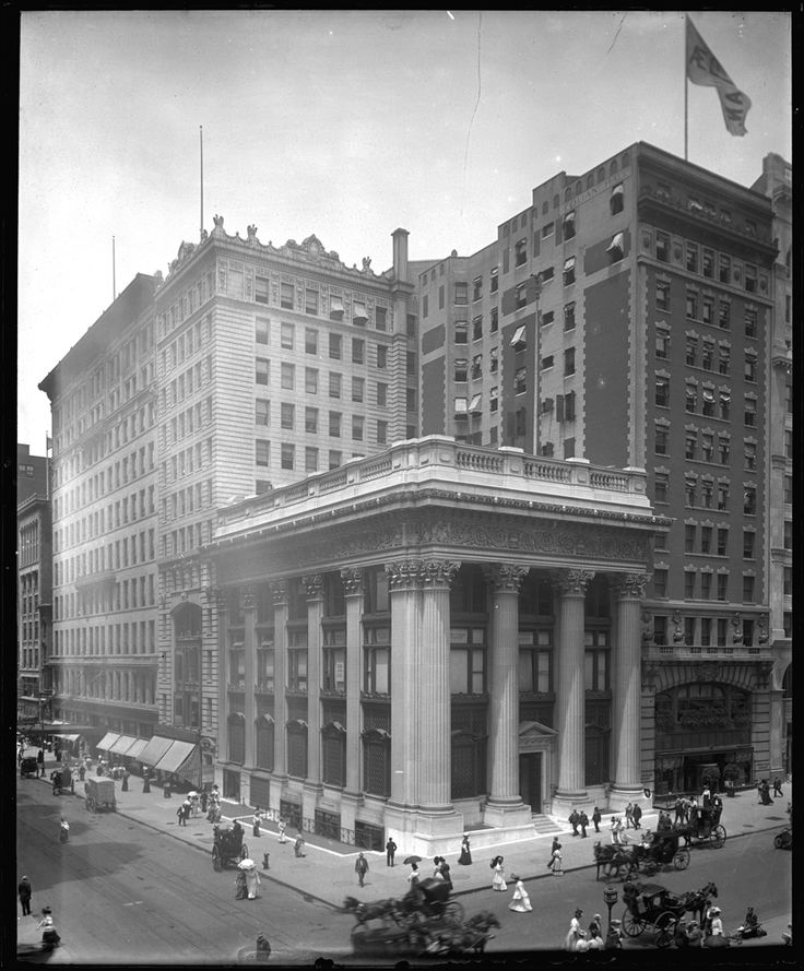 """October 22, 1907: """"Panic of 1907"""" - A run on the stock of the Knickerbocker Trust Company is one of several events leading to a depression.   The Knickerbocker Trust Company, at 34th Street and Fifth Avenue. Undated photograph by George P. Hall & Son, ca. 1904-1914.  PR 024, New-York Historical Society."""