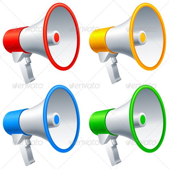 VECTOR DOWNLOAD (.ai, .psd) :: http://vector-graphic.de/pinterest-itmid-1005475869i.html ... Megaphones ...  announcement, blue, broadcast, bullhorn, communication, equipment, green, icon, illustration, megaphone, message, object, red, speech, vector, white, yellow  ... Vectors Graphics Design Illustration Isolated Vector Templates Textures Stock Business Realistic eCommerce Wordpress Infographics Element Print Webdesign ... DOWNLOAD…