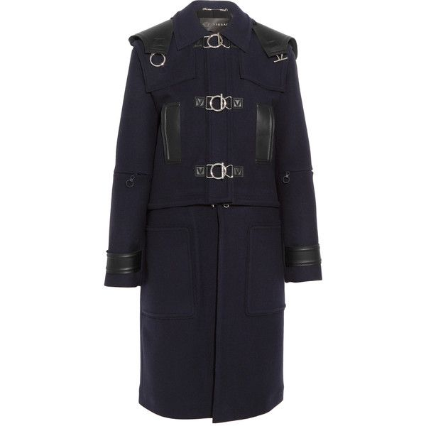 Versace Versace - Convertible Hooded Leather-trimmed Wool-felt Coat -... (€2.920) ❤ liked on Polyvore featuring outerwear, coats, military style coat, navy blue coat, military style wool coat, leather-sleeve coats and versace coat