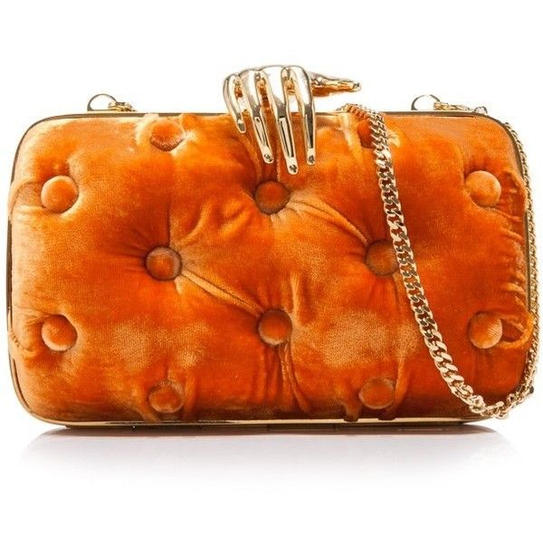 Benedetta Bruzziches Carmen Small Clutch With Hands ($1,090) ❤ liked on Polyvore featuring bags, handbags, clutches, orange, velvet clutches, velvet purse, chain strap purse, orange clutches and benedetta bruzziches