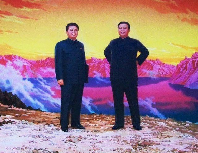 Kim Jong Il Propaganda Posters  Standing with father Kim Il Sung.