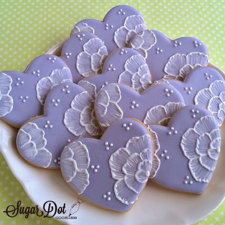 Sugar Cookies with Royal Icing - Brush Embroidered Flowers on Hearts The flowers on these hearts...