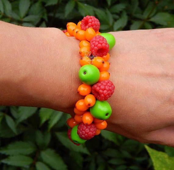 Berries Autumn charm bracelet  Handmade berry bracelet