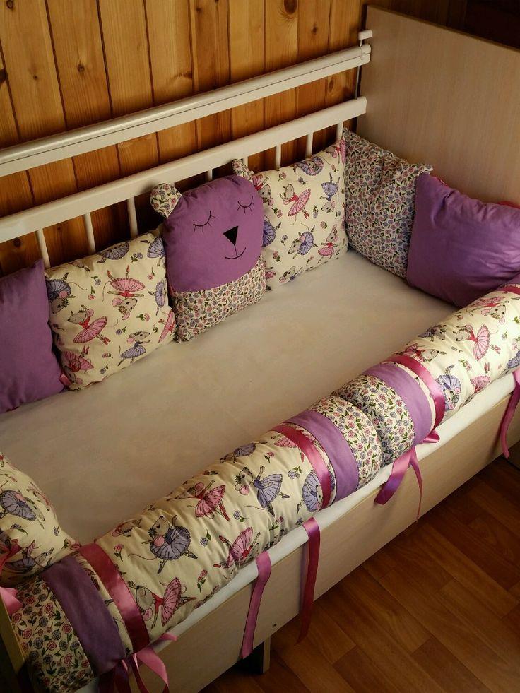 Купить Бортики в кроватку - сиреневый, бортики, бортики в кроватку, бортики в детскую кровать, бортики подушки