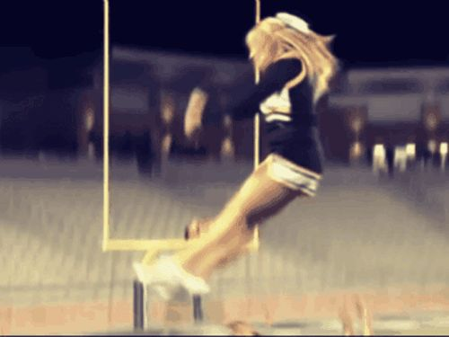 This girl can bounce back from anything. | 13 Mighty Spirited Cheer Stunts