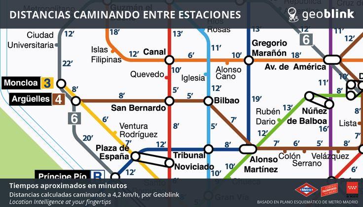 Distancias a pie entre las estaciones de #metro Madrid http://www.geoblink.com/blog/wp-content/uploads/2016/06/Distancias-Metro-Madrid.png