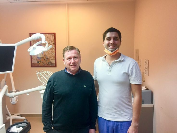 Dr. Bodnár and his patients after a Hollywood smile makeover. Jason chose Budapest Top Dental dental services after a long investigation as he was assured he recevies the best services here. He needed to come to Budapest twice, as some of his molars were repalced by implants and in the second visit he received zirconium crowns on all of his teeth. He received zirconium crowns made of the best german materials giving a perfect look to his teeth. Hollywood  stars can not have a better smile.