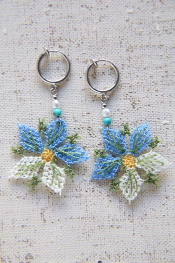 Hand-knitted earrings