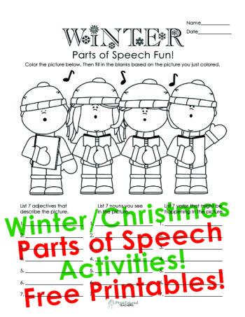 squarehead teachers winterholiday parts of speech worksheet for kids free