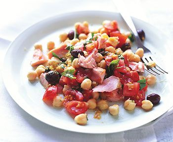 Fresh Salmon Salad with Chickpeas and Tomatoes Recipe  at Epicurious.com