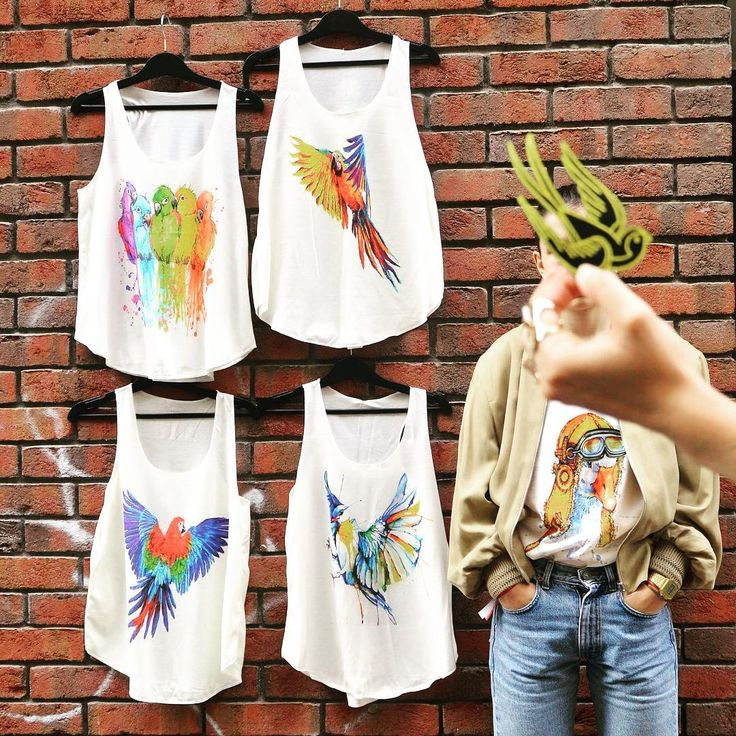Birdy nam-nam 🐦 #colourful #limited #tanktop #collection #birds #parrot #unique…