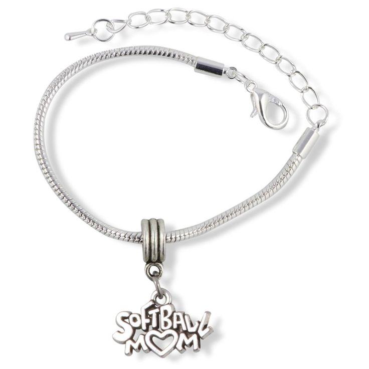 Softball Mom Snake Chain Charm Bracelet