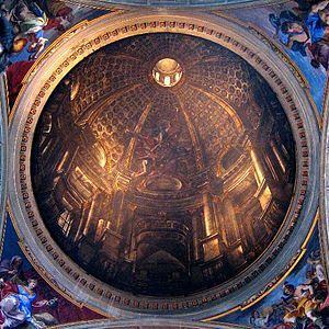 "Dome at Sant'Ignazio (1685)  ~  Perspective theories in the 17th-century allowed a more fully integrated approach to architectural illusion, which when used by painters to ""open up"" the space of a wall or ceiling is known as quadratura. Examples include Pietro da Cortona's Allegory of Divine Providence in the Palazzo Barberini and Andrea Pozzo's Apotheosis of St Ignatius on the ceiling of the Roman church of Sant'Ignazio."