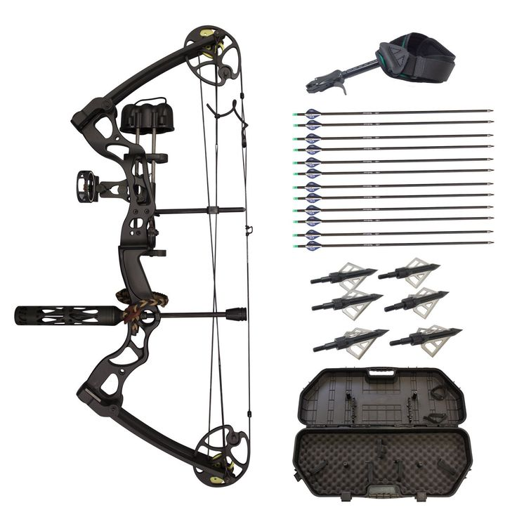 SAS Rage 70 Lbs 30'' Compound Bow Travel Package with Arrows Hard Case Loaded