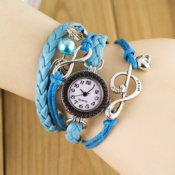 $3.94 Stylish Quartz Watch with Bead Pendant Round Dial and Knitting Leather Watch Band for Women