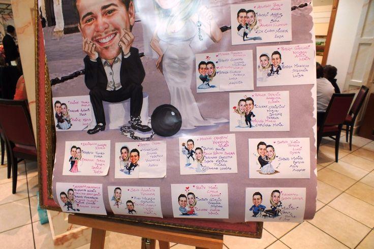 Tableau tavoli con caricature degli sposi