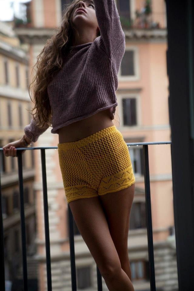 cotton knit shorts & crop wool sweater