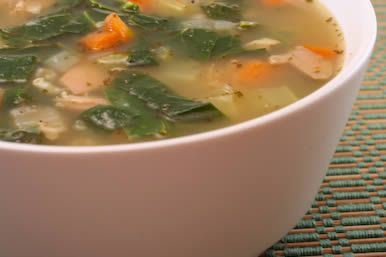 Chicken Soup with Collard Greens, Carrots, and Brown Rice