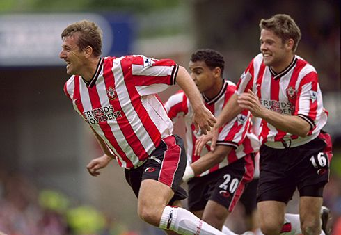 19 May, 2001 : Matt Le Tissier celebrates scoring the winning goal in Southampton's last game at the Dell, a 3-2 win over Arsenal.