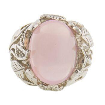 Anillo de plata y cuarzo rosa