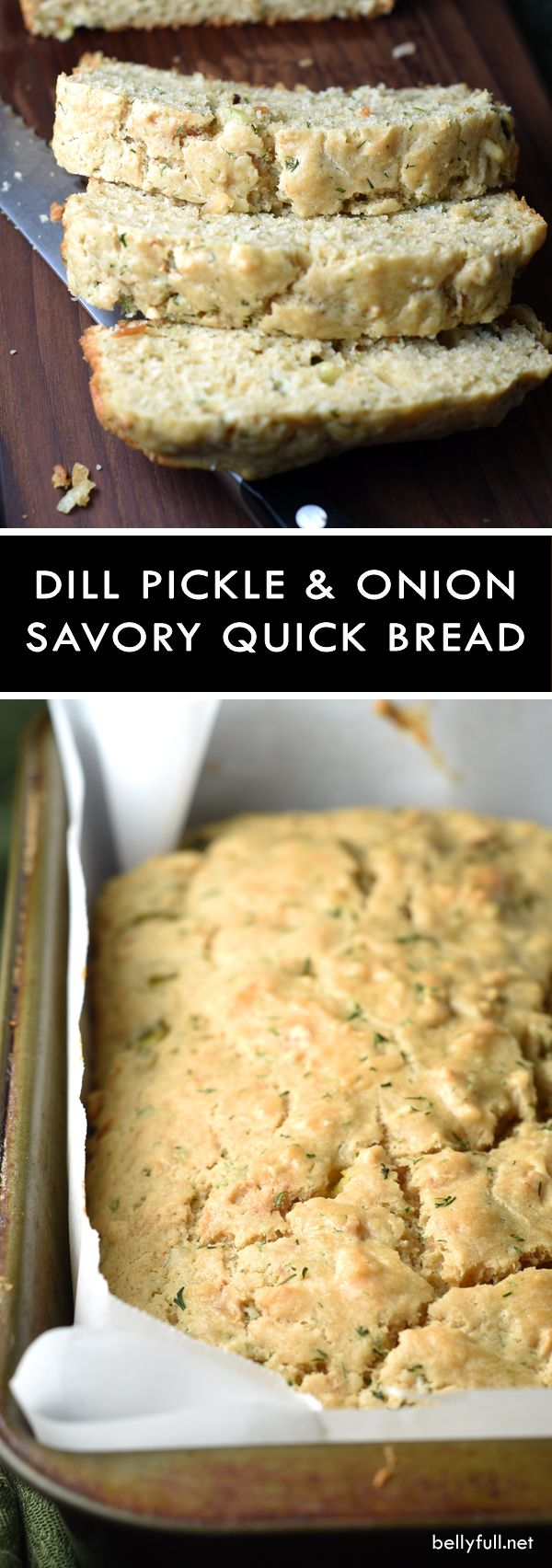 Dill Pickle Onion Quick Bread - this savory quick bread is perfectly delicious on its own, with a slab of butter, or dipped in a bowl of soup!
