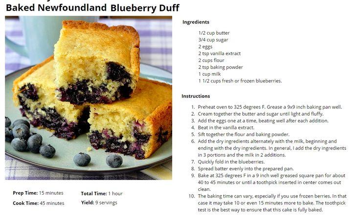 Baked Newfoundland Blueberry Duff