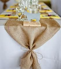 Burlap Table Runner tie ends with twine.