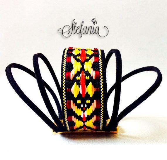 Boho bracelet with piece of fabric with by StefaniaJewelsShop