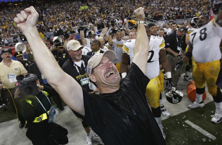 Super Bowl XL -- Pittsburgh Steelers 21, Seattle Seahawks 10  FEB. 5, 2006 (Ford Field, Detroit) -- Pittsburgh Steelers head coach Bill Cowher reacts after being doused with water after the team's 21-10 win over the Seattle Seahawks in Super Bowl XL. (AP