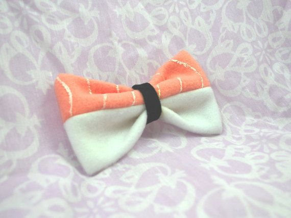 Sassy Sushi Bow Salmon Nigiri Inspired Hair Bow by HappyMillsShop